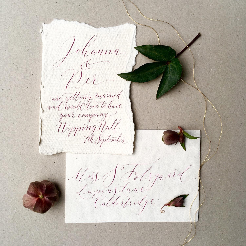 Boho luxe cotton rag calligraphy wedding invitation