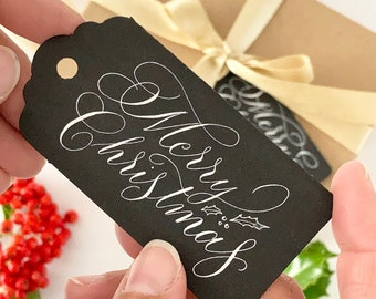 Gift tag for men - black calligraphy gift tag