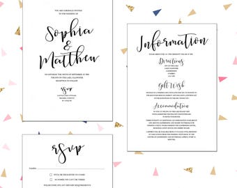 Elegant, personalised modern wedding invitations with matching accessories