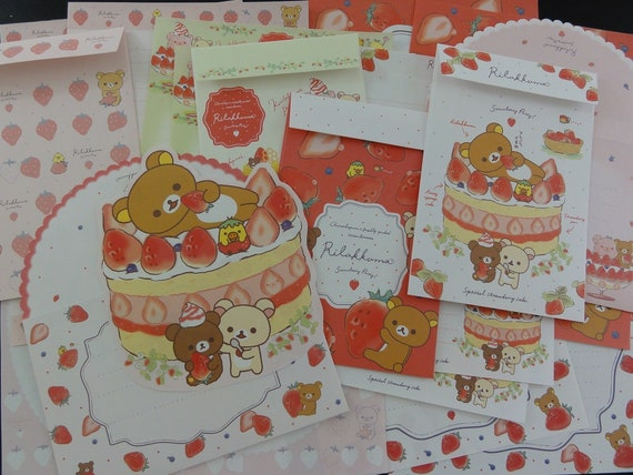 San-X Rilakkuma Strawberry Letter Sets Envelope writing paper stationery stationary kawaii cute gift her girl daughter sister designer bear