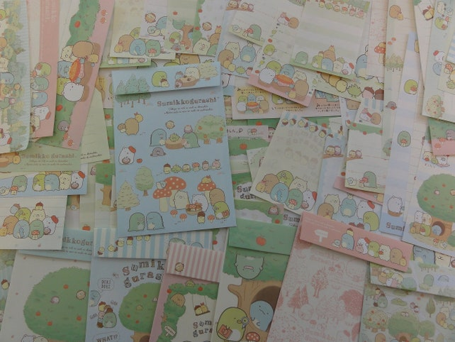 San-X Sumikko Gurashi Apple Green Garden Stationery Letter Set + Memo Paper Cute Kawaii Stationary lot gift envelope writing penpal special