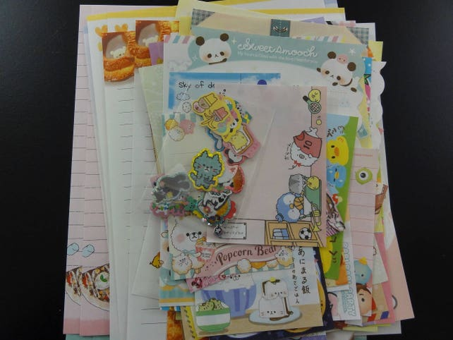 Grab Bag 75 pc STATIONERY PAPER ENVELOPE Memo Stickers Set flake sheet penpal gift stationary mails kawaii cute design seal girl favor party