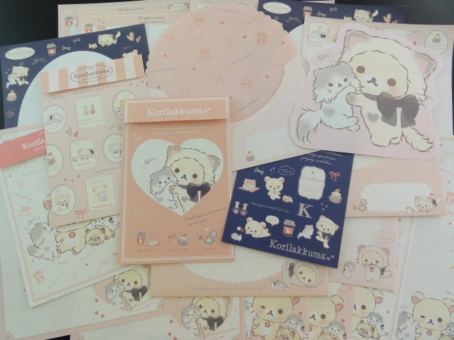 San-X Rilakkuma Stationery Writing Paper Envelope Letter Set Korilakkuma cat kitten penpal stationery stationary bear gift under 5 for her