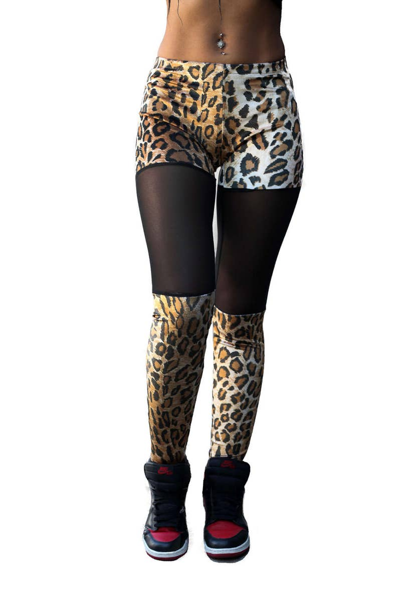 5dd86f9299a876 Velour stretch cheetah print leggings with mesh inserts faux | Etsy