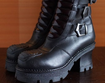 5be7a60a3c Vintage Italian Platform Boots New Rock style buckle Goth Moto