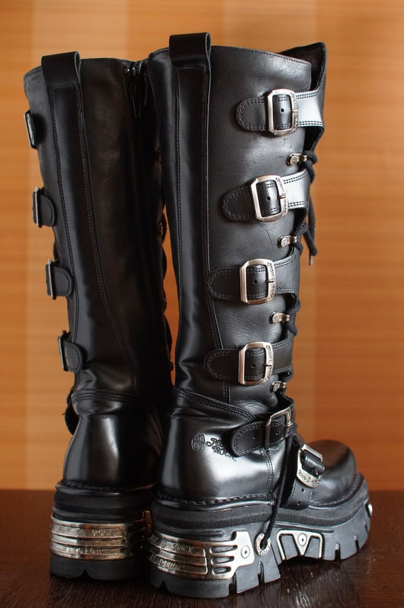New Rock platform boots REACTOR moto buckles Gothi