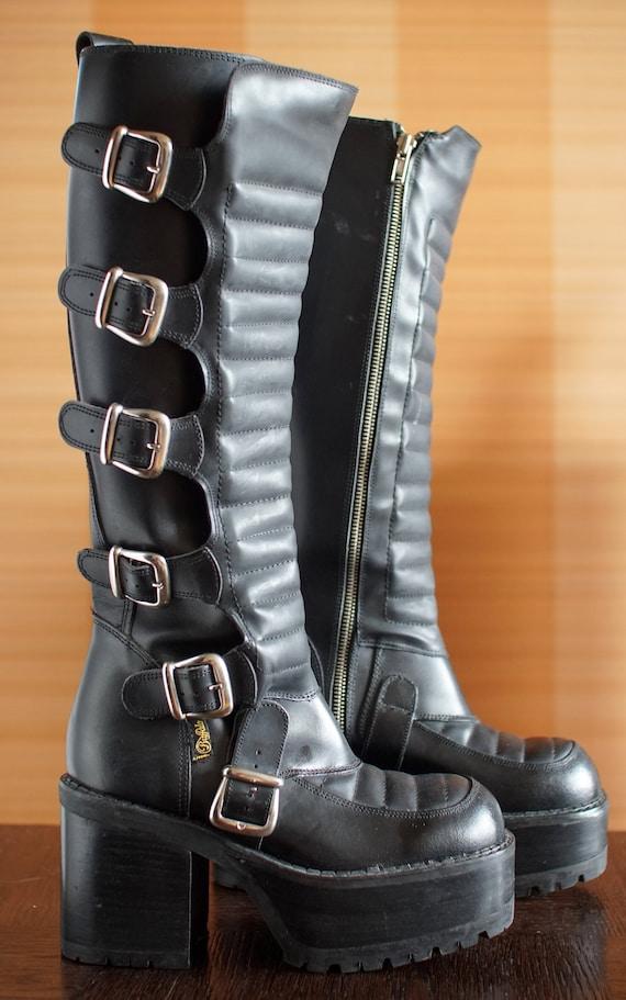 Super rare BUFFALO platform tread boots goth 90's