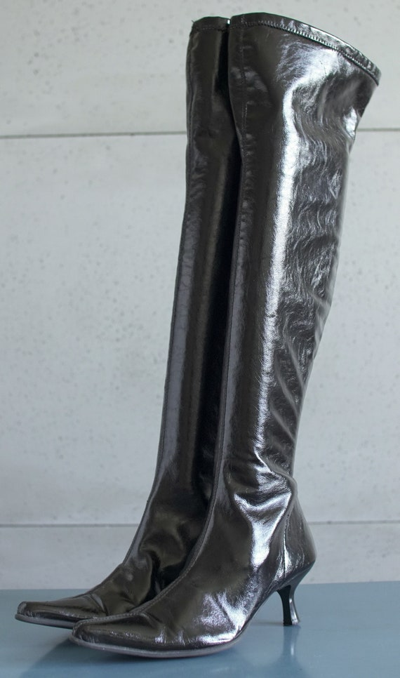 y2k latex patent overknee high black boots Pointy