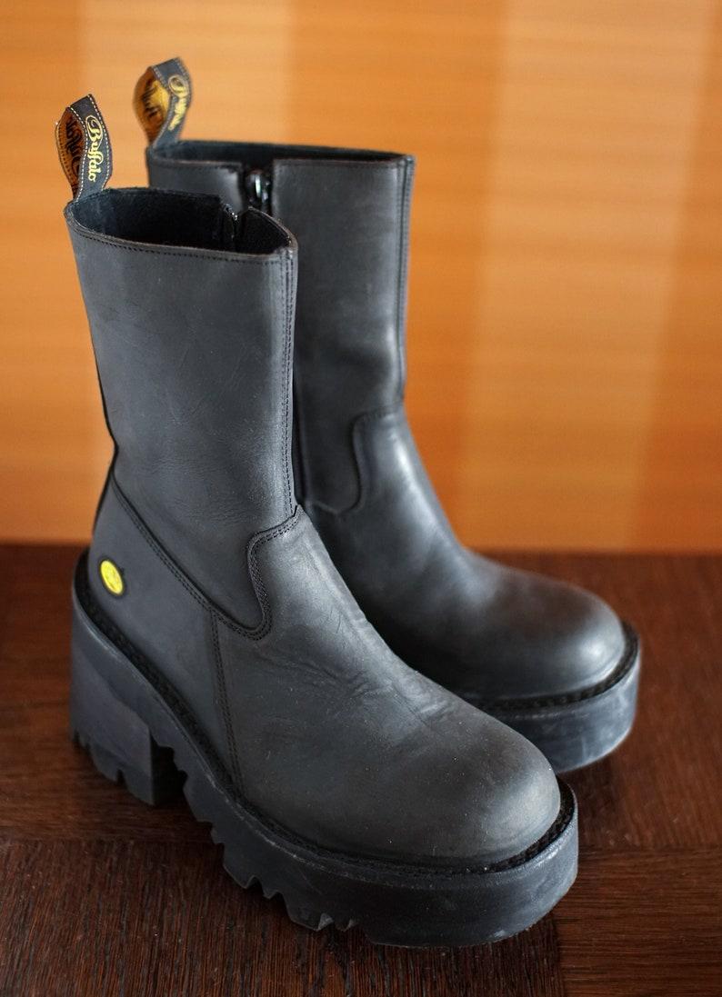 BUFFALO tread platform booties 90/'s Club Kid Grunge Gothic 90s boots vintage black boots chunky clubkid platform goth retro steampunk