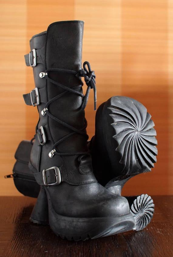 SHELLYS y2k Grunge Stiefel funky Ferse Goth Club Kind Rave Plattform Stiefel. einzigartig
