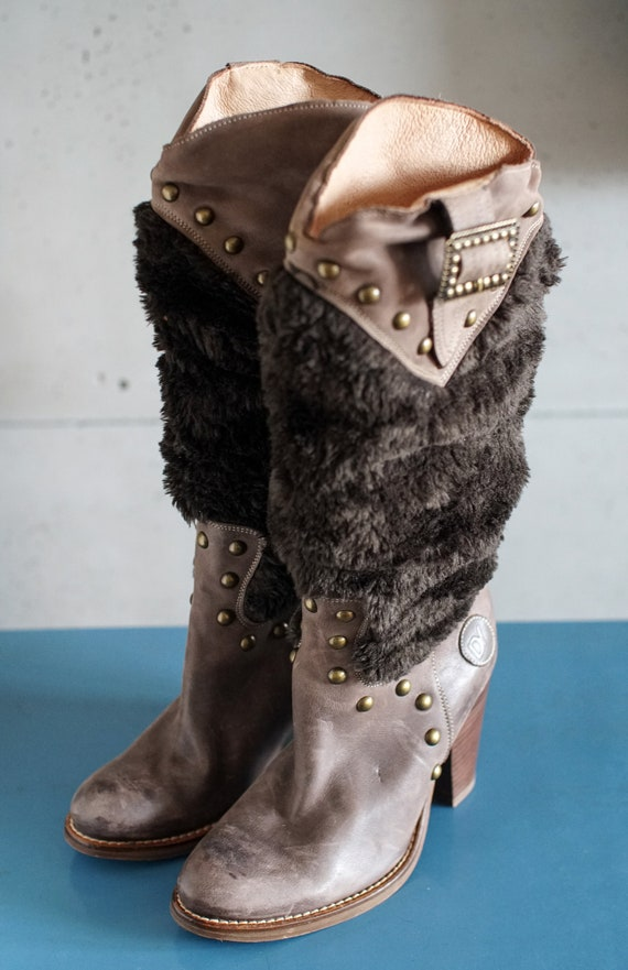 funky vintage DESTROY cowgirl brown boots DY Spai… - image 3