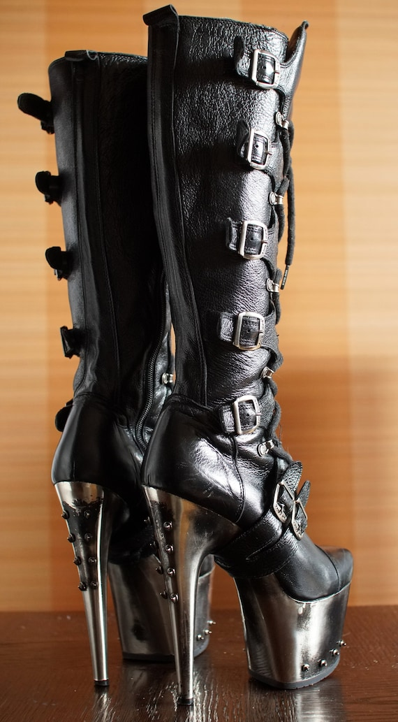 outstanding New Rock super high platform boots  bu