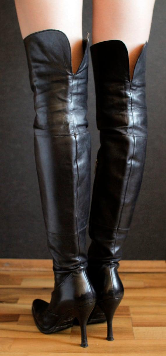 Hohe R. Estima Overknee Stiefel viktorianischen 90er Jahre Gestaltung gotische Stiletto Heels Spike Fersen OTK Fetisch Goth Oberschenkel