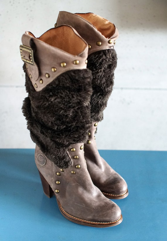 funky vintage DESTROY cowgirl brown boots DY Spai… - image 5