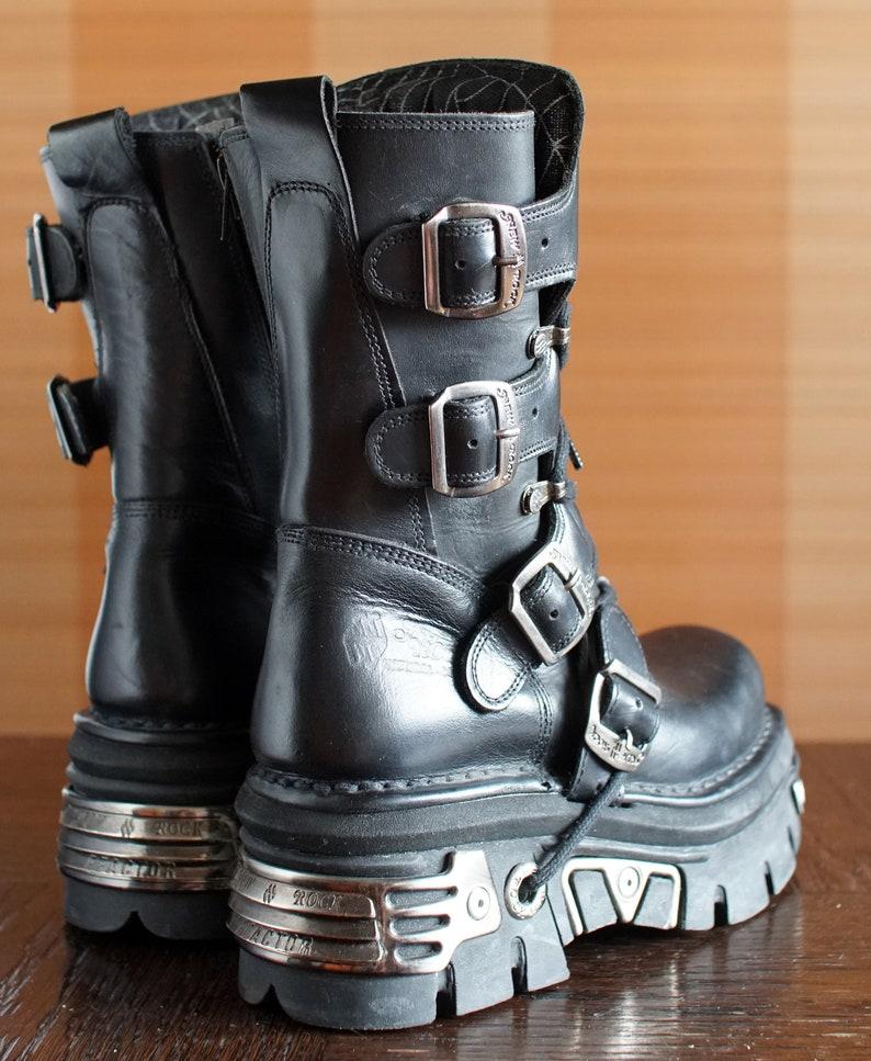 21442707624 New Rock platform Reactor boots GOTH moto buckles Gothic Scene