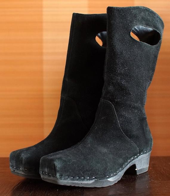 Black suede real vintage 90's Platform Boots Clogs