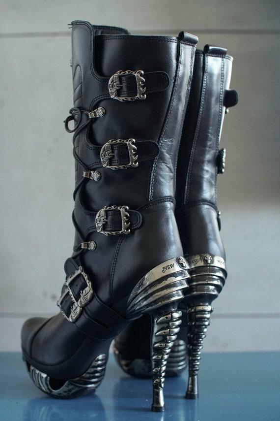 outstanding New Rock high platform boots buckles G