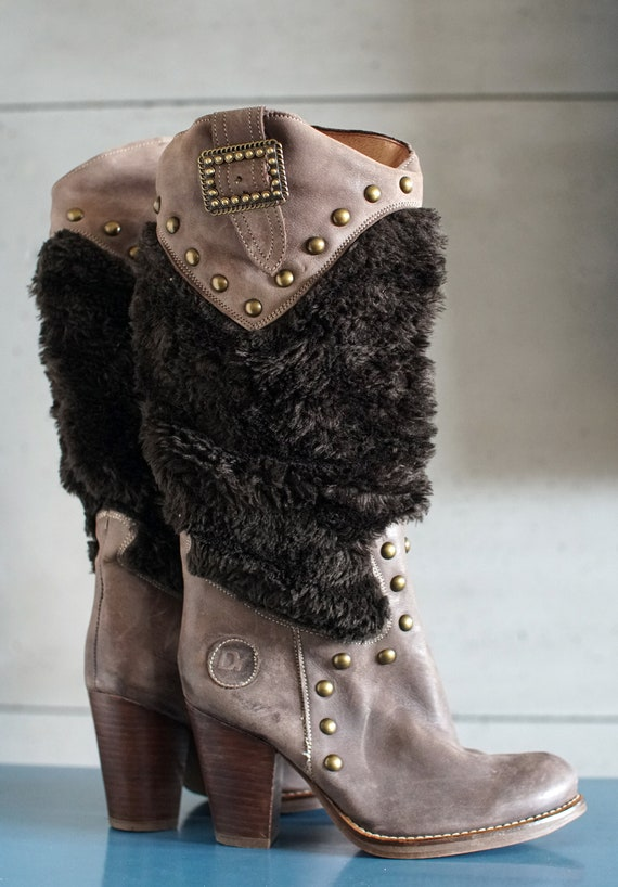 funky vintage DESTROY cowgirl brown boots DY Spai… - image 8
