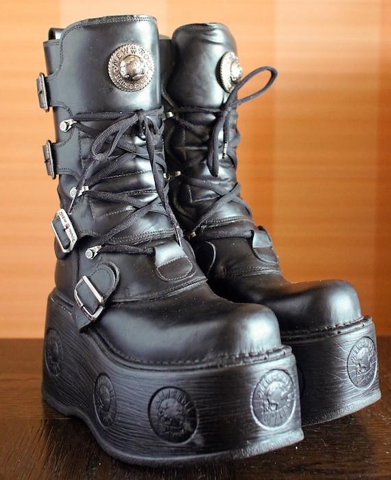 New Rock platform boots NEPTUNO black chunky goth