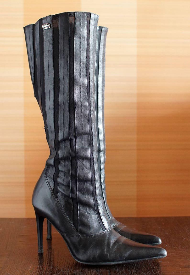 a7f4db570c361e Büffel Leder kniehohe schwarze Stiefel. Kult-Modell der 90er