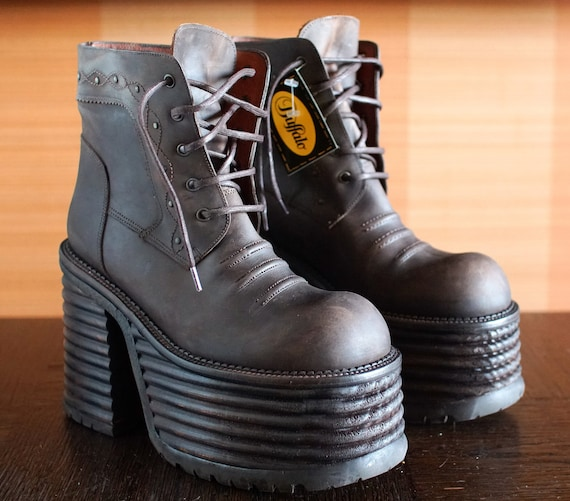 chunky boots platform brown ankle boots lace up hiking high top boots brown platform boots platform shoes vintage platform 90s platforms