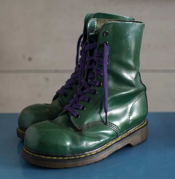 vintage Dr Martens Steeltoe green made in ENGLAND