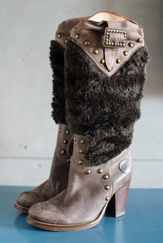 funky vintage DESTROY cowgirl brown boots DY Spai… - image 6