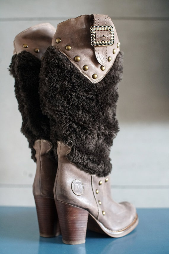 funky vintage DESTROY cowgirl brown boots DY Spai… - image 2