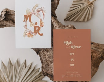 Boho Floral Frame Save the Date Burnt Orange Save the Date Template Numeric Printable Instant Download 120 Terracotta Save our Date