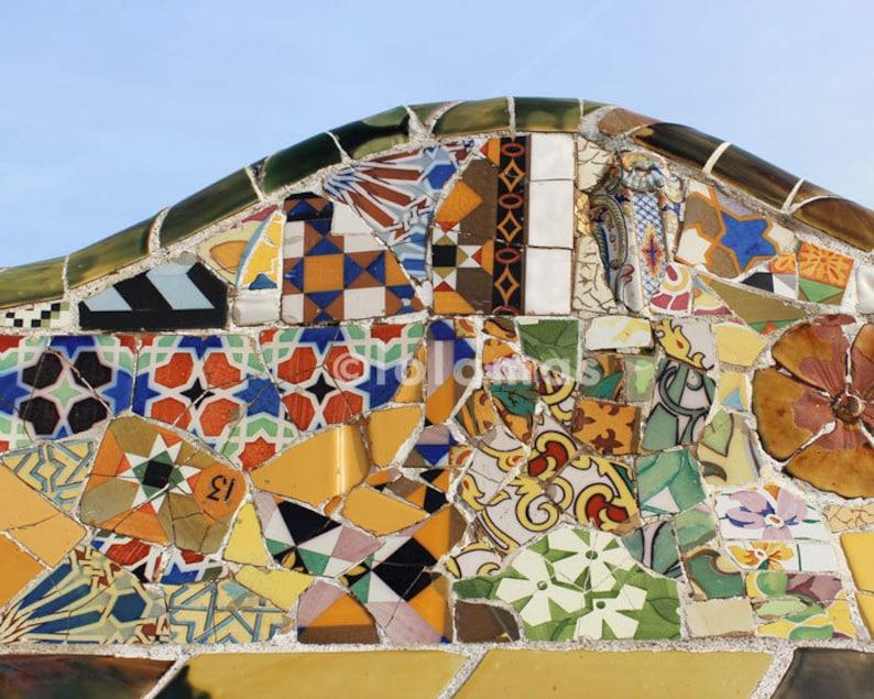 Gaudi Mosaic Wall Art Mosaic Tiles Colorful Wall Decor Etsy