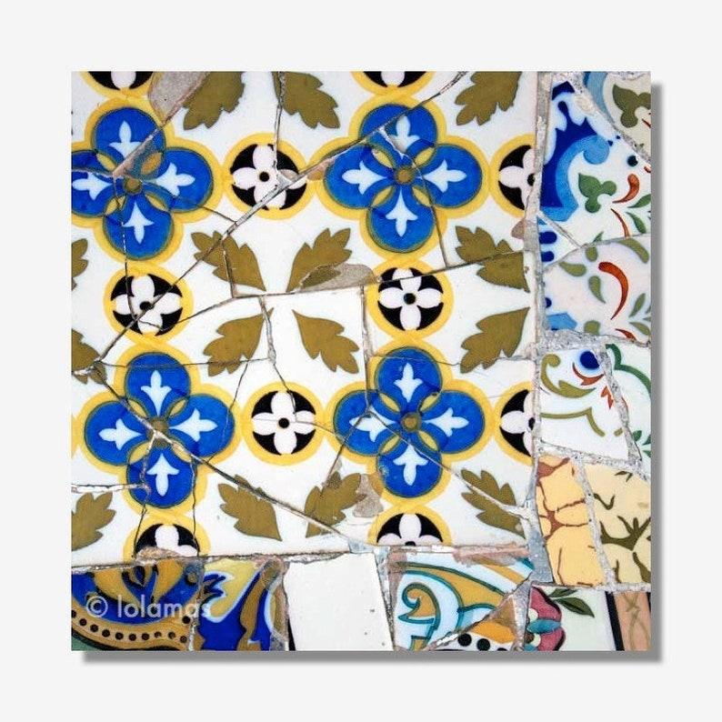 Spanish Tile Print Floral Mosaic Wall Art Gaudi Barcelona Art Etsy