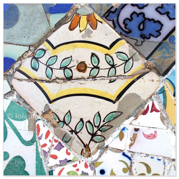 Mosaic Tile Print Gaudi Barcelona Spanish Tile Teal Kitchen Etsy
