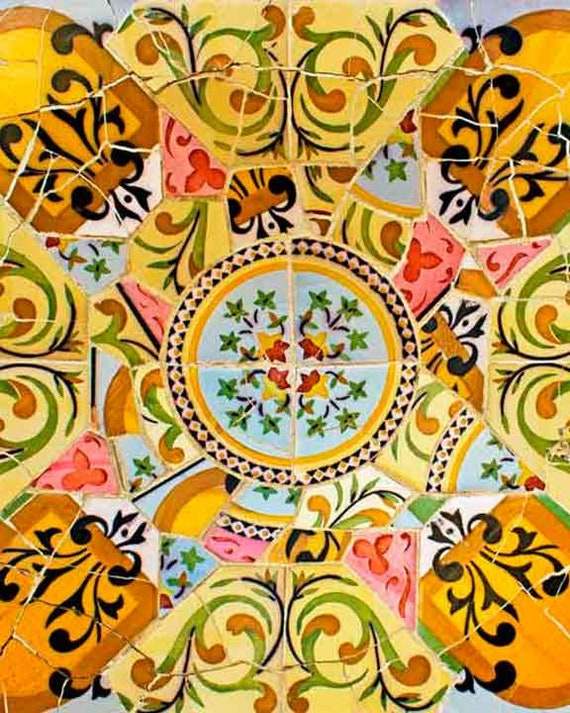Spanish Tile Mosaic Wall Decor Living Room Wall Art Gaudi Etsy