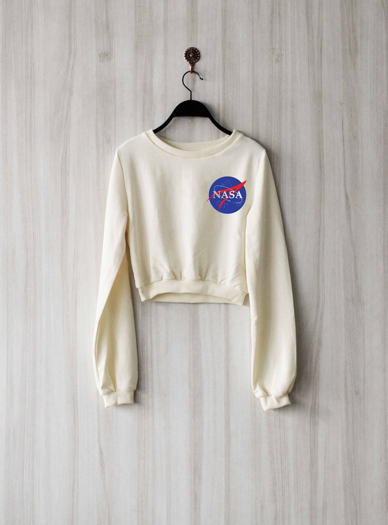 63ed568befa2d8 Nasa Crop Top Sweatshirt Women Crop Top Sweater Jumper