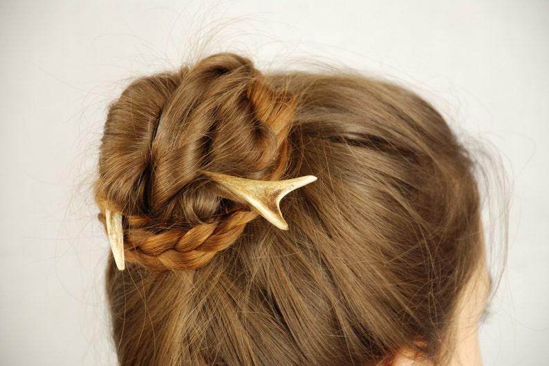Horn hair comb accessory  Roe hair moon  Antler stick  Deer image 0