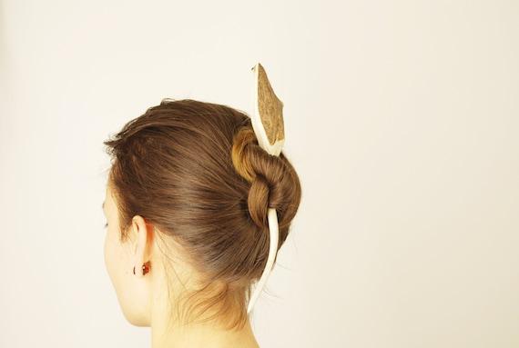 Natural antler hair accessory stick pin bone roe deer horn friendly haar pagan celtic animal outstanding headdress unique cruelty free boho