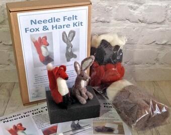 Needle felt Kit / Hare and Fox Needle felt Kit / Starter Needle Felt Kit / Mother's Day Gift / Craft Kit / Felting Kit