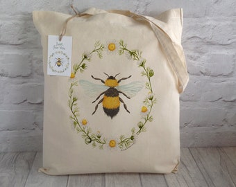 Bee Tote Bag / Shopping Bag / Cotton Tote / Market bag / Eco Tote Bag / Bumble Bee / Beekeeper gift /