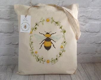 Bee Tote Bag / Shopping Bag / Cotton Tote / Market bag / Eco Tote Bag / Bumble Bee / Beekeeper gift /