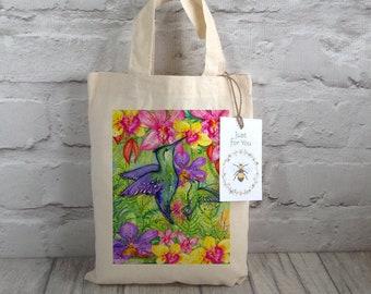 Bird Party Bag / Bird Goody bag / Gift bag / Mini Tote Bag / Hummingbird Gift / Thank You Gift / Cotton Sandwich bag / Tropical Hummingbird