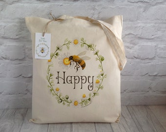 Tote Bag / Bee Happy Bag / Shopping Bag / Wedding Tote / Market tote bag / BeeKeeper gift / Eco Tote Bag / Mother's Day Gift / Book Bag