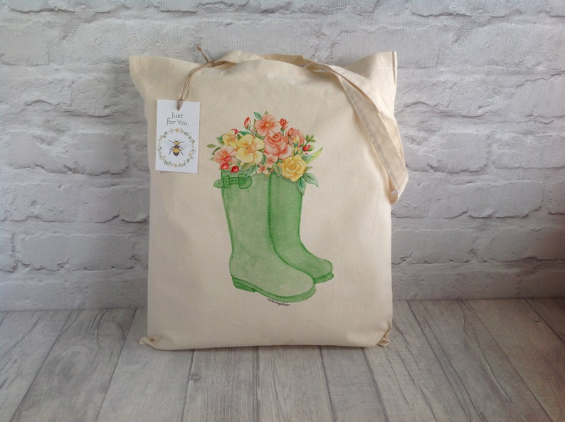 1a7e74a5936b3 Boot Tote Bag / Green boots Bag / Farmers Market Bag / Rain Boot Tote Bag /  Welly Boot Bag / Shopping Bag / Gardener's Gift