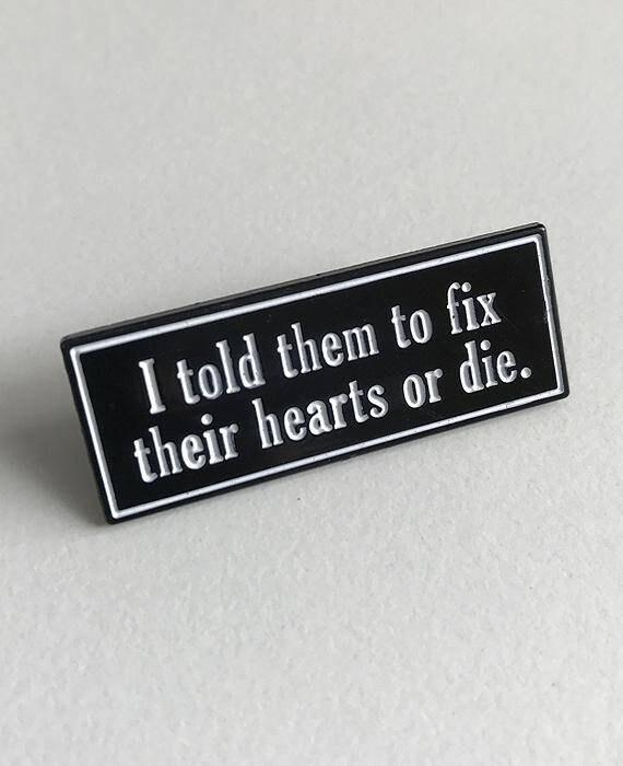 Twin Peaks Inspired Enamel Pin Badge Fix Their Hearts Or Die Etsy