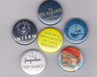 WES ANDERSON, The Life Aquatic with Steve Zissou badges - set of 6 pin back buttons, Bill Murray, Owen Wilson