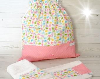 Asciugamani E Bavaglini Personalizzati.Sacca Asilo Per Bimba In Tessuto Di Cotone Stampa Farfalle Etsy