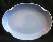 Vintage Fire King Vitrock Glass Sky Blue Oval Flower Garden Rainbow Tray Bowl