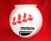 Vintage Fire King Vitrock Red Flower Pots Grease Jar - No Lid