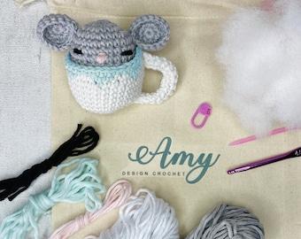 Crochet Kit - Little mouse Sencha in a cup of tea