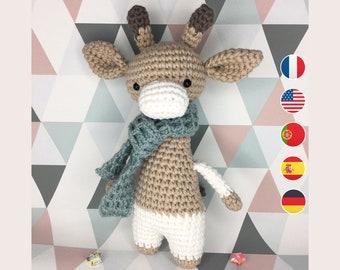 Amigurumi  - Arthur Giraffe Crochet Pattern, Baby Doll Instructions, Toddler, Beginner Level