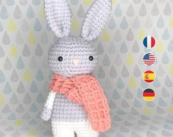 Amigurumi - Biscuit Rabbit Crochet Pattern, Baby Doll Instructions, Toddler, Beginner Level. In French, English, Spanish